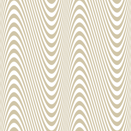 Illustration pour Curved wavy lines seamless pattern. Vector texture with golden waves, stripes. Modern abstract white and gold background, optical illusion effect. Repeat design for decoration, print, textile, covers - image libre de droit