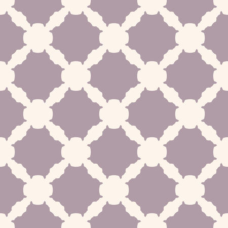 Illustration for Simple geometric seamless pattern with carved shapes, grid, mesh, net. Abstract background in beige and pale purple colors. Subtle vintage minimalist texture. Repeat design for decor, textile, covers - Royalty Free Image