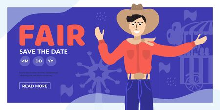 Illustration for Vector detail illustration for State Fair with Big Tex. Event poster with Fair Park Dallas,ferris wheel, flags. Design template for invitation, landing page, layout, banner,print, flyer. Save the date - Royalty Free Image
