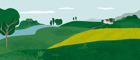 Illustration pour Panoramic Alpine landscape with green valley, houses and river. Rural scene with farmhouse, hills, meadows and fields. Vector illustration of farm, outdoor nature. Countryside background for flyer, ad - image libre de droit