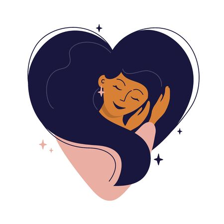 Illustration for Cute girl with heart shaped hair hugs herself. Self care, love yourself or sweet dreams icon. Happy woman, time for your self, healthcare or skincare concept. Vector illustration for postcard, cards. - Royalty Free Image