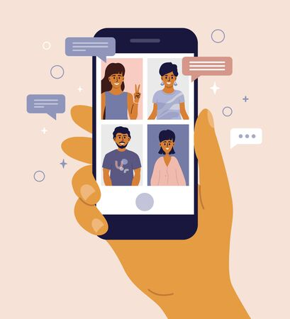 Illustration pour Video call between friends, chatting online by mobile app. Stay at home, work, communication remotely. Hand holding smartphone. Group of people on device screen. Internet messenger vector illustration - image libre de droit