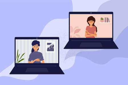 Illustration pour Psychotherapy online at home by laptop. Video call between psychologist and young woman. Sad girl talking to female doctor. Psychology internet session, health care, mental issue vector illustration - image libre de droit