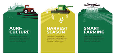 Illustration pour Set of vectors with agriculture, harvest, smart farming. Illustrations of plowing tractor in field, combine harvester, drone in farm land. Landscape scenes. Agricultural banners. Design poster, flyer - image libre de droit
