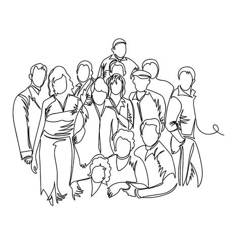 Ilustración de group of people. one line. vector continuous line - Imagen libre de derechos