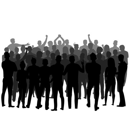 Illustration for a crowd of people standing backwards. vector silhouette of a group of people - Royalty Free Image