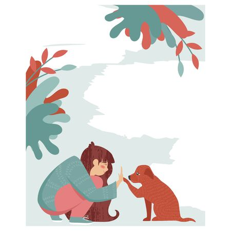 Illustration pour help homeless animals. the girl helps the dog. blank poster for your text - image libre de droit