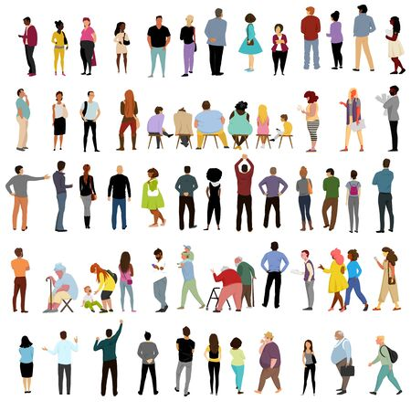 Illustration for people. vector isolated image of people. a set of vectors. people in different poses - Royalty Free Image