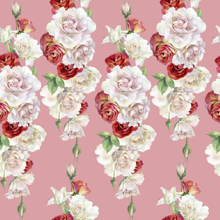 Photo for Seamless pattern of watercolor red and pink roses. - Royalty Free Image
