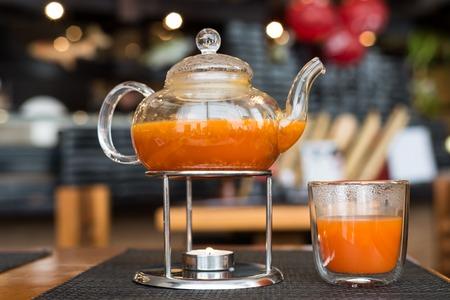 Sea Buckthorn tea candle basking in a Japanese restaurant