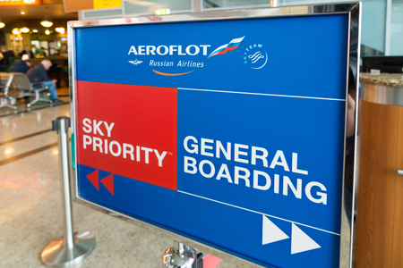 Moscow, Russia - October 31.2016. Information Guide - Boarding Gate - from an Aeroflot