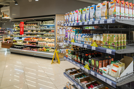 Moscow, Russia - March 18.2017. The interior of store products Azbuka Vkusa in Zelenograd