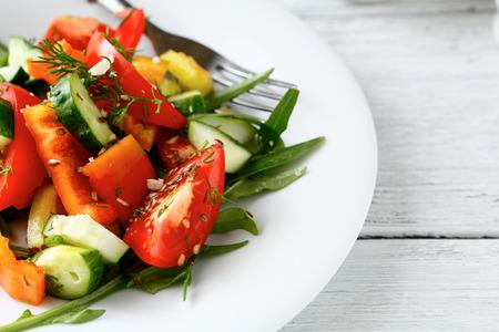 Fresh homemade salad, food closeup