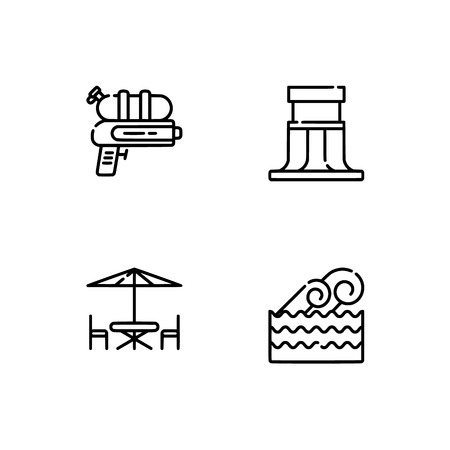 Waterpark and aquapark, beach  Set outline icon EPS 10