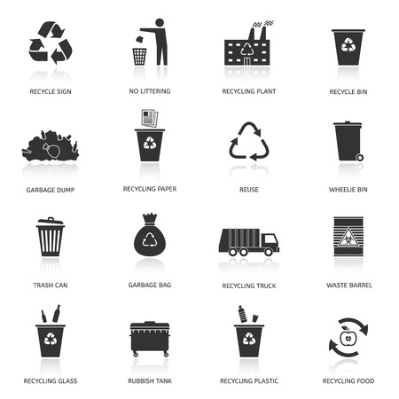 Recycling and garbage icons set. Waste utilization. Vector illustration.
