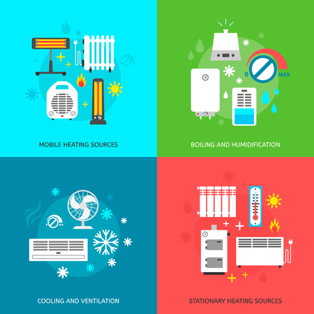 Heating ventilation and conditioning flat icons set.
