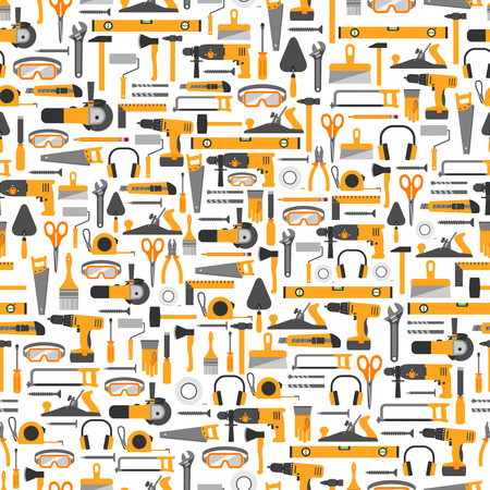 Illustration pour Construction tools vector icons seamless pattern. Hand equipment background in flat style. - image libre de droit