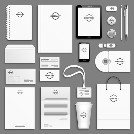 Illustration pour Corporate identity template set. Business stationery mock-up with icon. Branding design. - image libre de droit