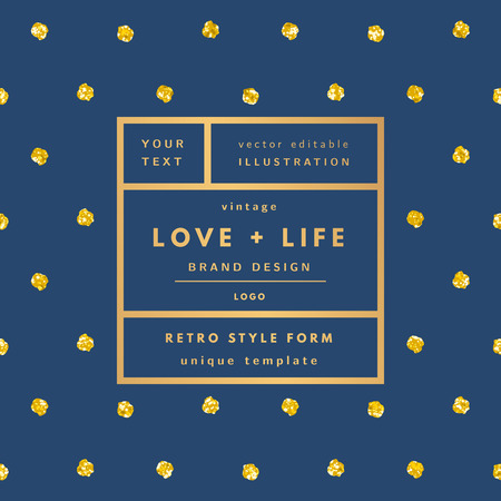 Illustration for Blue Love and life gold dots glitter Vintage modern in frame outline geometric background. Retro label package template. Trend layout, art print - Royalty Free Image