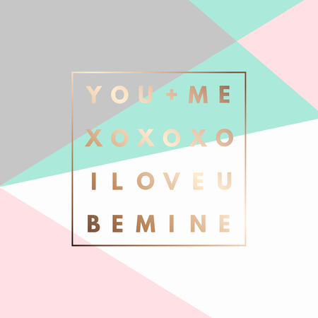 Romantic I love U, XOXO, Be Mine gold minimal icon in frame on geometric layout. Vintage modern label in frame outline geometric background. Retro package template. Trend layout, art print. Valentine day greeting card