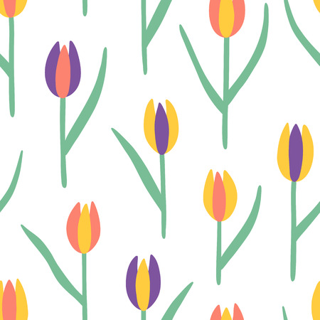 Illustration pour Tulips seamless vector pattern. Red, yellow and violet doodle flowers with leaves endless print - image libre de droit