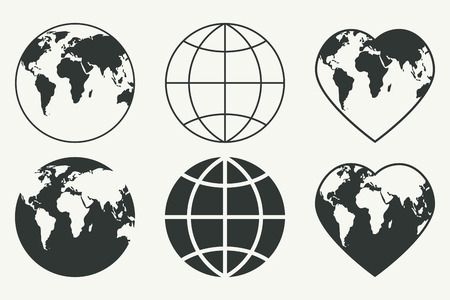 Illustration for Vector set of Globes. Earth icons - Royalty Free Image