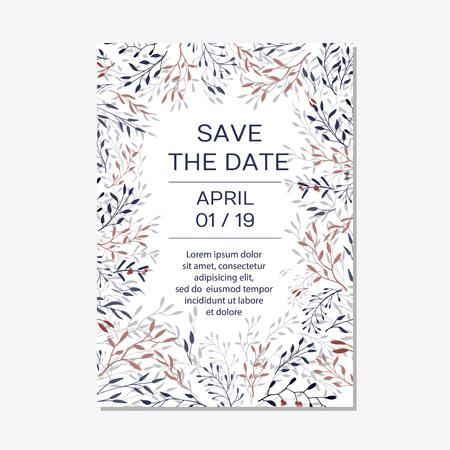 Illustration pour Wedding Invitation. Copper elegant floral invite set, modern card in copper leaf greenery branches decorative on navy blue background. Vector elegant rustic template - Vector - image libre de droit