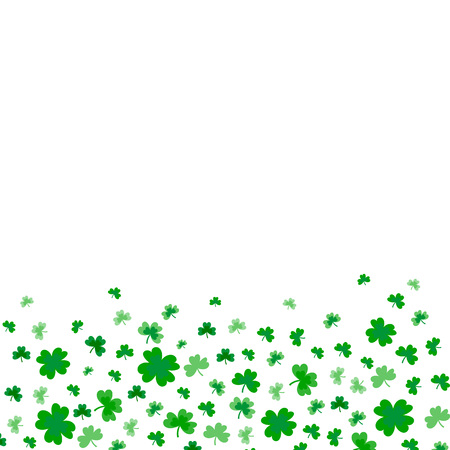Illustration pour Saint Patrick's Day Border with Green Four and Tree Leaf Clovers on White Background. Vector illustration. Party Invitation Design, Typographic Template. Ireland symbol pattern. - Vector - image libre de droit