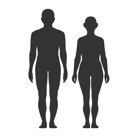 Illustration pour Silhouettes of men and women on a white background. Medical vector infographics. Medic anatomy. Vector symbol. - image libre de droit