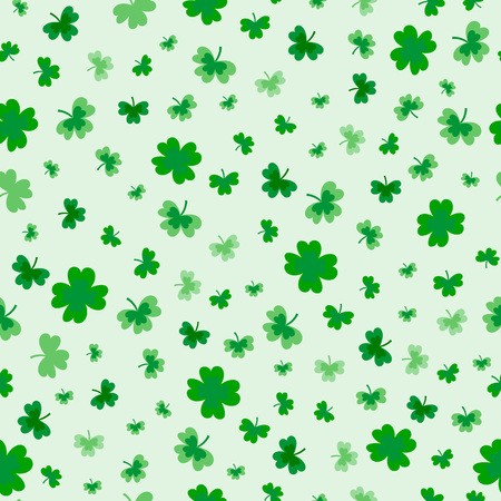 Illustration for St Patrick's Day Clover seamless pattern. Vector illustration for lucky spring design with shamrock. Green clover isolated on white background. Ireland symbol pattern. Irish decor for packing design, cards, wrapping paper, textile. - Vector - Royalty Free Image