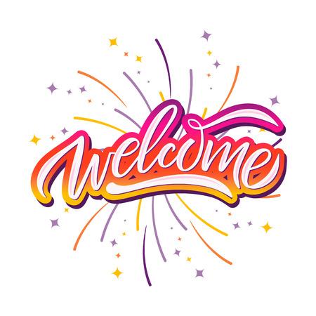 Ilustración de Hand sketched Welcome lettering typography. Drawn art sign. Greetings for badge, icon, card, postcard, logo, banner, tag. Celebration vector illustration for internet design. - Vector - Imagen libre de derechos