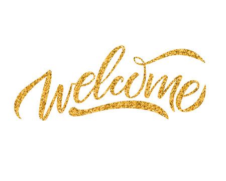 Ilustración de Hand sketched Welcome lettering typography. Drawn art sign. - Imagen libre de derechos