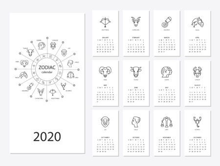 Ilustración de Calendar 2020 with horoscope signs zodiac symbols set, flat colored illustration, template. Can be used for web, print, card, poster, banner, bookmark. Week starts on sunday. - Imagen libre de derechos