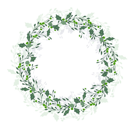 Illustration pour Wreath of leaves, plants, branches and flowers with white background. Hand drawn for cards, invitations, logo, greeting, wedding invite template illustration. - Vector - image libre de droit