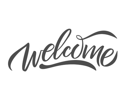 Illustration pour Hand sketched Welcome lettering typography. Drawn art sign. Greetings for badge, icon, card, postcard, logo, banner, tag. Celebration vector illustration for internet design. - Vector - image libre de droit