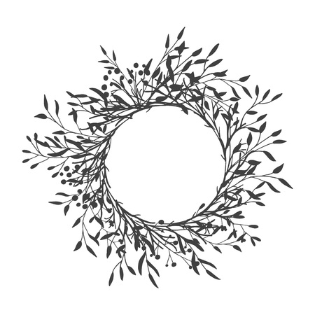 Illustration for Wreath of leaves, plants, branches and flowers with white background. Hand drawn for cards, invitations, logo, greeting, wedding invite template illustration. - Vector - Royalty Free Image