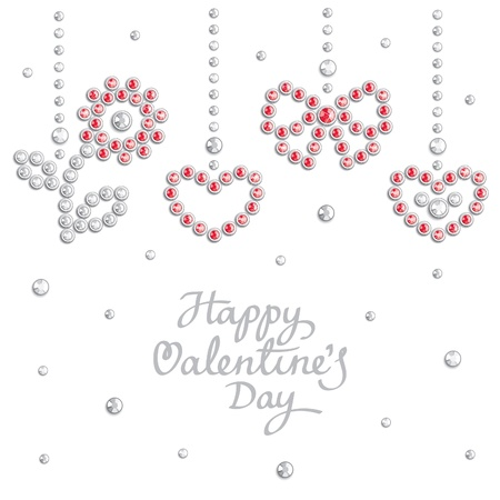 Valentine background with holiday symbols composed of crystals