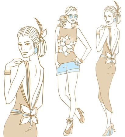 Female fashion models set in doodle style