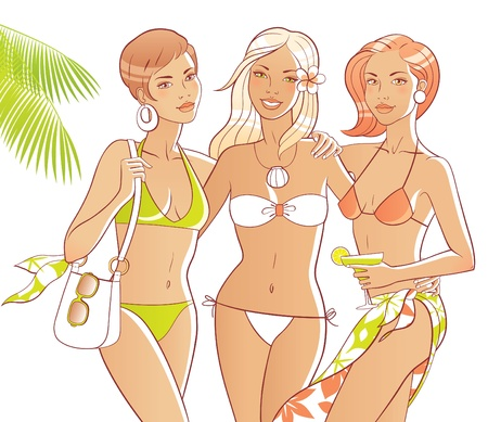 0d55605eb4e6d Three tanned women on the beach. Bodies and accessories are separate ...