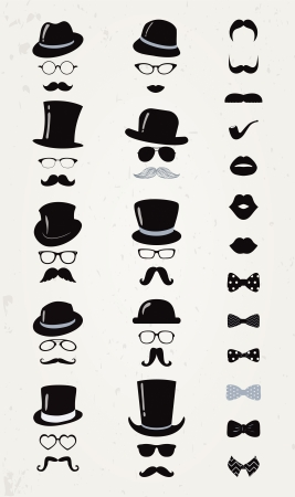 Hipster Retro Vintage Vector Icon Set, Mustache, Lips, Hats, Bow ties and Glasses Collection