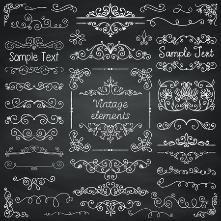 Decorative Vintage Chalk Drawing Doodle Design Elements. Frames, Dividers, Swirls. Vector Illustration
