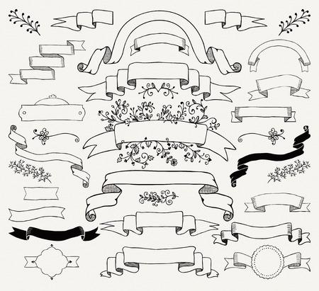 Illustration pour Set of Hand Drawn Black Doodle Design Elements. Decorative Floral Banners, Ribbons. Vintage Vector Illustration. - image libre de droit