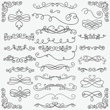 Set of Black Hand Drawn Rustic Doodle Design Elements. Decorative Swirls, Scrolls, Text Frames, Dividers, Corners. Vintage Vector Illustration. Pattern Brushes