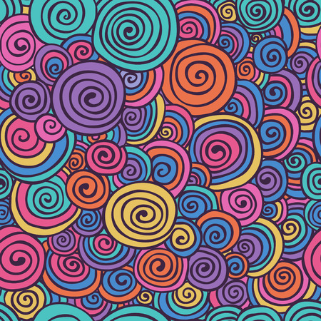 Abstract Colorful Hand Sketched Swirls Circles Seamless Background Pattern. Vector Illustration. Pattern Swatch. Hand Drawn Scribble Wavy Texture