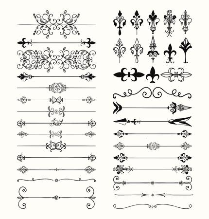 Illustration pour Set of Hand Drawn Black Doodle Design Elements. Decorative Floral Dividers, Arrows, Swirls, Scrolls. Vintage Vector Illustration. - image libre de droit