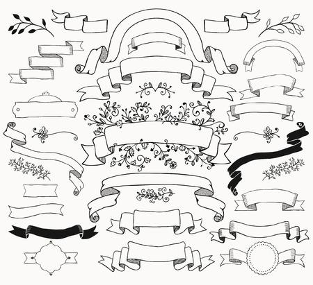 Illustration pour Set of  Black Doodle Ribbons. Sketched Rustic Decorative Floral Design Elements. Vintage Illustration. - image libre de droit