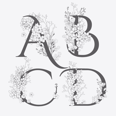 Ilustración de Vector Hand Drawn Flowered monograms. Uppercase Letters A, B, C, D with Flowers and Branches. Wildflowers. Floral Design - Imagen libre de derechos