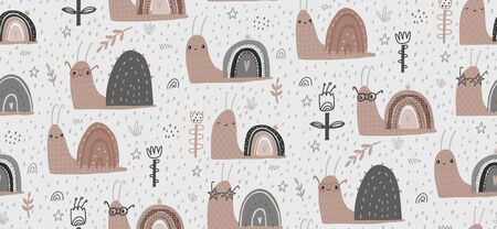 Illustration pour Hand drawn baby vector seamless pattern illustration with cute snails. Scandinavian style flat design. The concept for Wallpaper, cloth design, textile, wrapping, wallpaper, covers. - image libre de droit