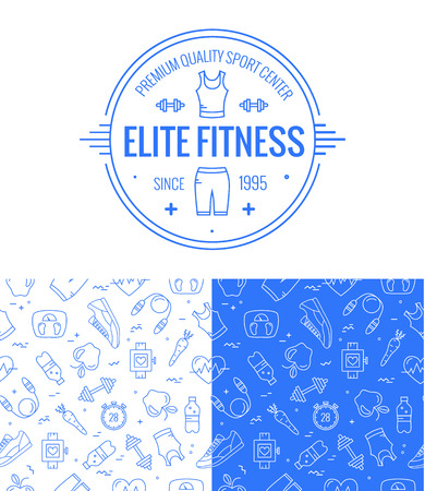 Ilustración de fitness badge and seamless pattern set in mono line style. Sport icons and background for your design. - Imagen libre de derechos