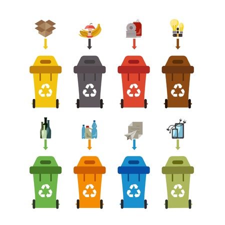 Illustration pour Waste recycling bin set. Vector illustration of waste recycling management. Waste recycling bin flat waste sorting concept. Colored waste recycling bin set with waste sorting categories. - image libre de droit